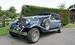 11930's style 2 door Beauford open-top convertible tourer in Arctic and Teal Blue with roof up 1