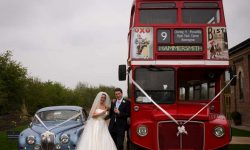 1965 Daimler V8 in Metallic Blue (with Routemaster bus and Bride & Groom)