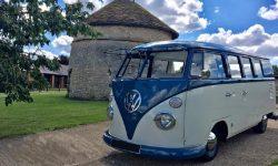 VW Campervan in Blue over White 3