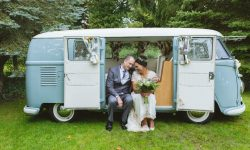VW Campervan in White and Baby Blue