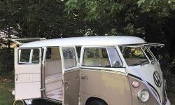 VW Campervan in White over Beige
