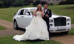 Rolls Royce Phantom facelift model in White with Bride and Groom