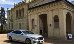 latest shape Silver LWB (long wheelbase model) S Class Mercedes with private plate