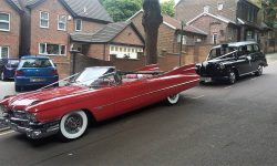 1959 Cadillac convertible in Festival Red with Black Cab