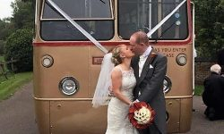 39 passenger AEC Single Deck RF Bus in Gold (with Bride and Groom)