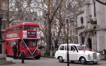 Special order Red Routemaster Bus with White Taxi