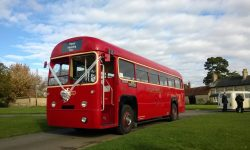 Traditional 39 passenger AEC Single Deck RF Bus in London Transport Red