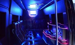 13 passenger Mercedes Party Bus in Blue (Black tint windows) interior